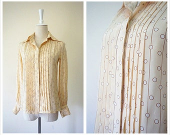 Christian Dior pure silk shirt. Vintage cream  accordion dot blouse. French women long sleeves clothing. Size small. Shipping included.