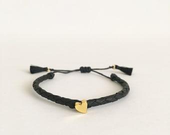 Mini Heart Braided Black Bracelet