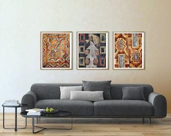 3 printable art set African art decor set of 3 African wall decor Primitive folk art Folk art print Brown download African art printables