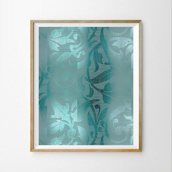 Galerry white teal aqua wall art