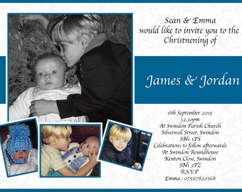 Christening Invitation, Boys, Picture Collage, Blue, Printable Invitation