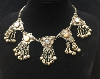 Vintage Afghani Kuchi silver necklace with agate and bell embellishment