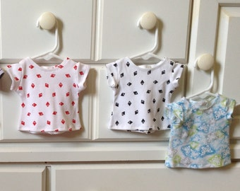 18 Inch Doll Clothes, Short Sleeved, T-Shirt, Pattern, Striped,and Plain