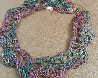 Crocheted Copper Wire Lace 1980's Choker