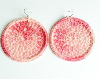 Shades of Coral hoop earrings
