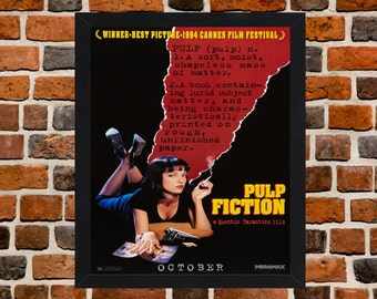 Framed Pulp Fiction Quentin Tarantino Movie / Film Poster A3 Size Mounted In Black Or White Frame