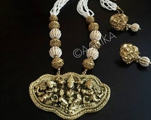 Antique temple pendant with pearl beads / indian jewelry / antique temple jewelry /Lakshmi pendant/pearl and gold