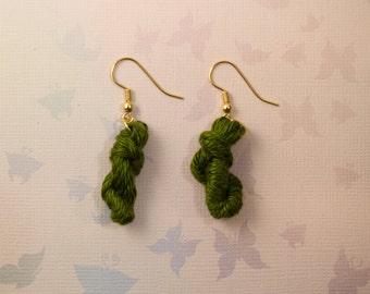 Emerald Green Yarn Skein Earrings