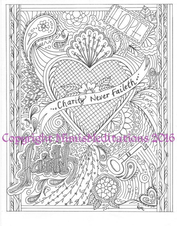 charity coloring pages - charity never faileth coloring page downloadable