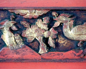 Antique Chinese Wood Carving - Peacock and Floral Motif - Carved Wood - Decorative Gilt Panel - Gold & Red Asian Decor - Chinese Antique