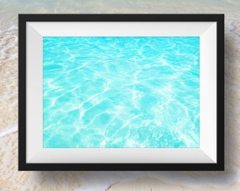 Blue Ocean water beach decor, nature image, beach house home decor, Instant Download, Digital Download