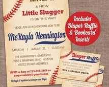 Baseball Baby Shower Invitation with diaper raffle card and book card insert