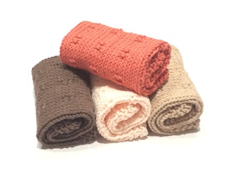 Handmade Knit Washcloths, Dishcloths- 100% Cotton washcloths, Kitchen and Bath, Bath and Beauty, Gift Set.