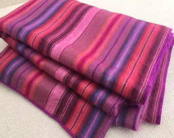 Soft and warm beautiful lightweight ALPACA BLANKET throw /multicolor striped pink/ boho chic style/ handmade/ queen size aprox.