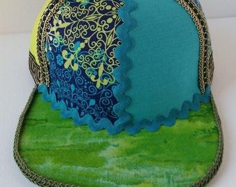 Handmade Snapback Hat, One of a Kind Hat, Festival Snapback- Gems Series: Emerald (green, teal, turqoise)