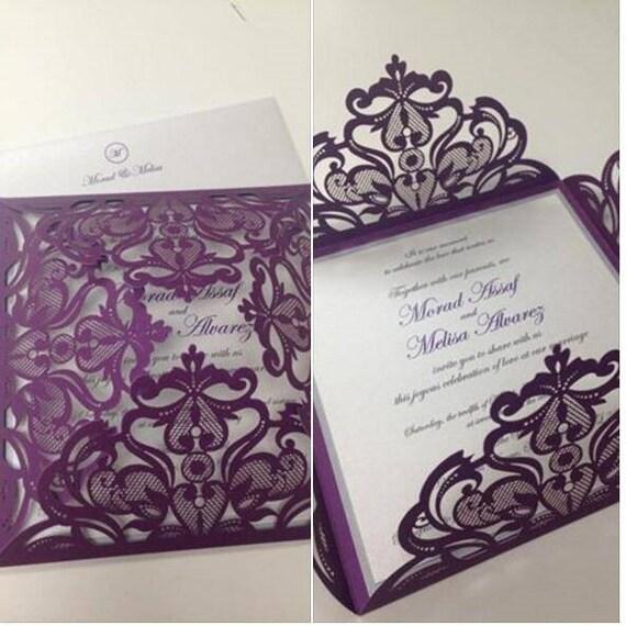 Pocket Wedding Invitation Set Lace Design Laser Die Cut