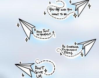 Positivity Paper Plane Stickers