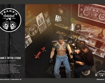 "1/6 Custom Figure ""Frank's Tattoo Studio"" Dioramas ( Limited one set only ) 12"" Scale Action Figure"