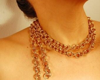 Vintage Gold Tone Steel Multi-Chain Necklace - Unknown Designer