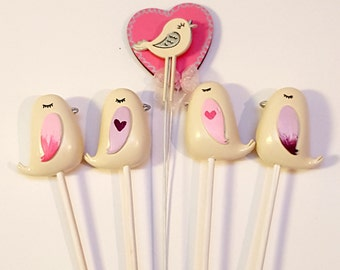 Miniature Love Bird Wedding Pops, Centerpiece/Bouquet Decorations! Any colour, made to order!
