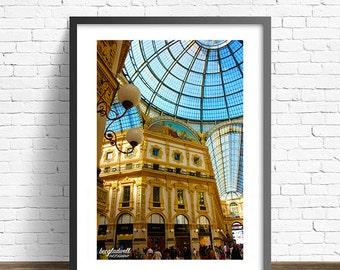 Milan Poster Print ~ Galleria Vittorio Emanuele II ~ Italy ~ Fashion ~ Architecture ~ Photography ~ Europe ~ 8x12~12x16~16x20~20x24~20x30
