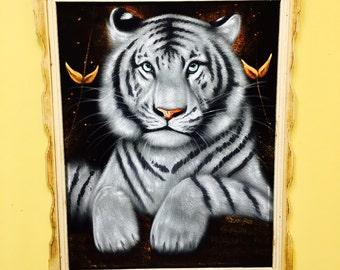White Tiger Oil Velvet Painting
