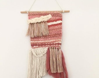 SALE// 65 down to 55//Rose Pink Wall Hanging Weaving Tapestry