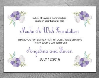 Donation favor cards Printable wedding donation card
