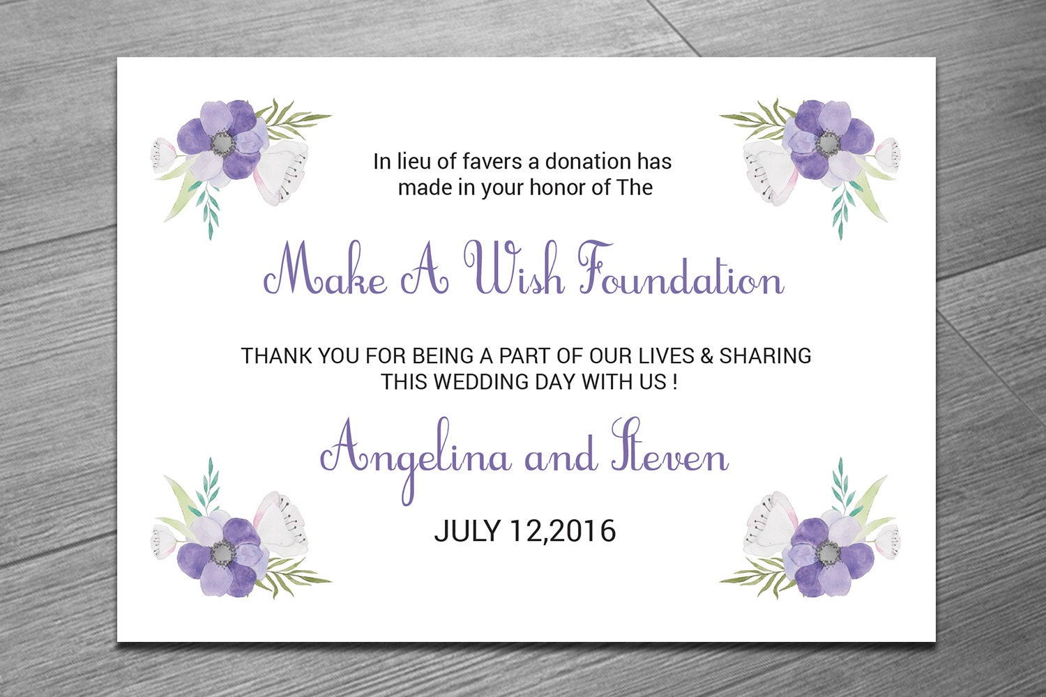 Wedding Favor Donation Card Template