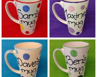 Personalised Spotty Latte Mugs - multi colour