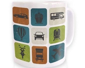 Distressed Transport Grid mug