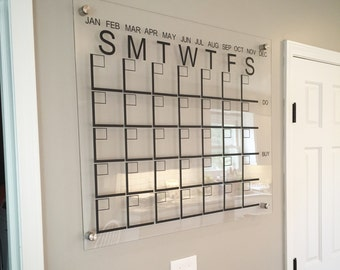 Large Acrylic Monthly Calendar, Family Calendar, Family Organization, Designer Calendars, Wall Calendar, Family Command Center.
