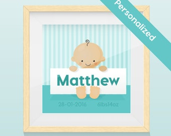 Personalized  Portrait Nursery Art- Baby  Boy Art Print / Wall Art with name and image