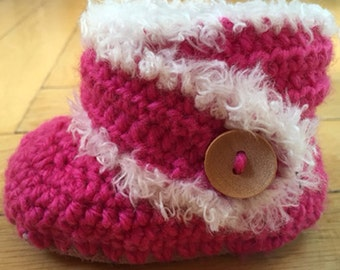 """Crochet Baby Booties, leather and wool, ugg, slippers, loafers, """"Ugg  Booties"""""""