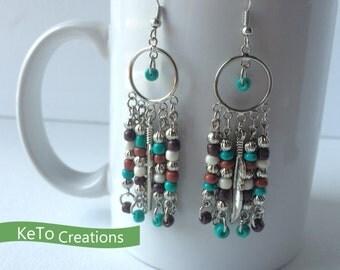 Earrings, Chandelier Style Earrings, Southwest Colored Bead Earrings, Dangle Earrings