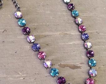 8.5mm Swarovski Crystal Necklace in Easter colors