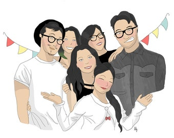 Custom illustrated portrait I family or friends