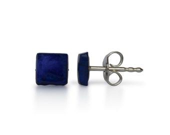 Natural lapis lazuli, 5mmx5mm, lapis lazuli earrings, 925 Silver