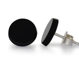Onyx earrings, of course, flat round, 12 mm, 925 Silver