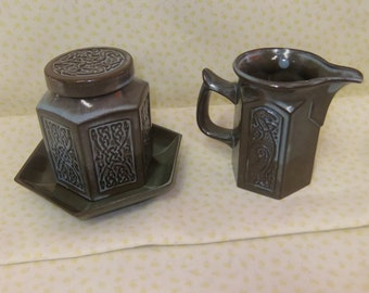 Three Pieces of  Vintage Tynllan Pottery from Wales - Celtic Design