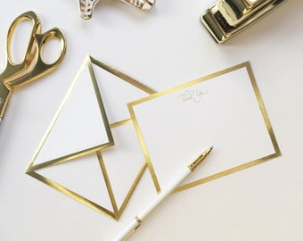 Thank You White Card with Gold Foil Bordered Envelope