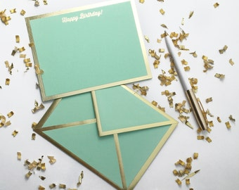 Happy Birthday! Mint Green Card with Gold Foil Bordered Envelope