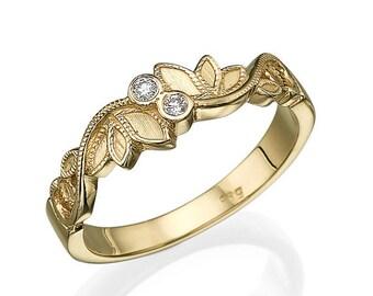 Leaves Wedding Ring, Yellow Gold Ring, Leaf Ring, Art Deco Ring, Wedding Band, Unique Wedding Ring, Promise Ring, Statement Ring, Matte Ring