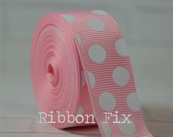 """2 yards 7/8"""" Baby Pink and White Polka Dot Grosgrain Ribbon - Wedding Shower - Baby - Gift - Craft - Sewing - Dots - Home Decor - Dog Collar"""