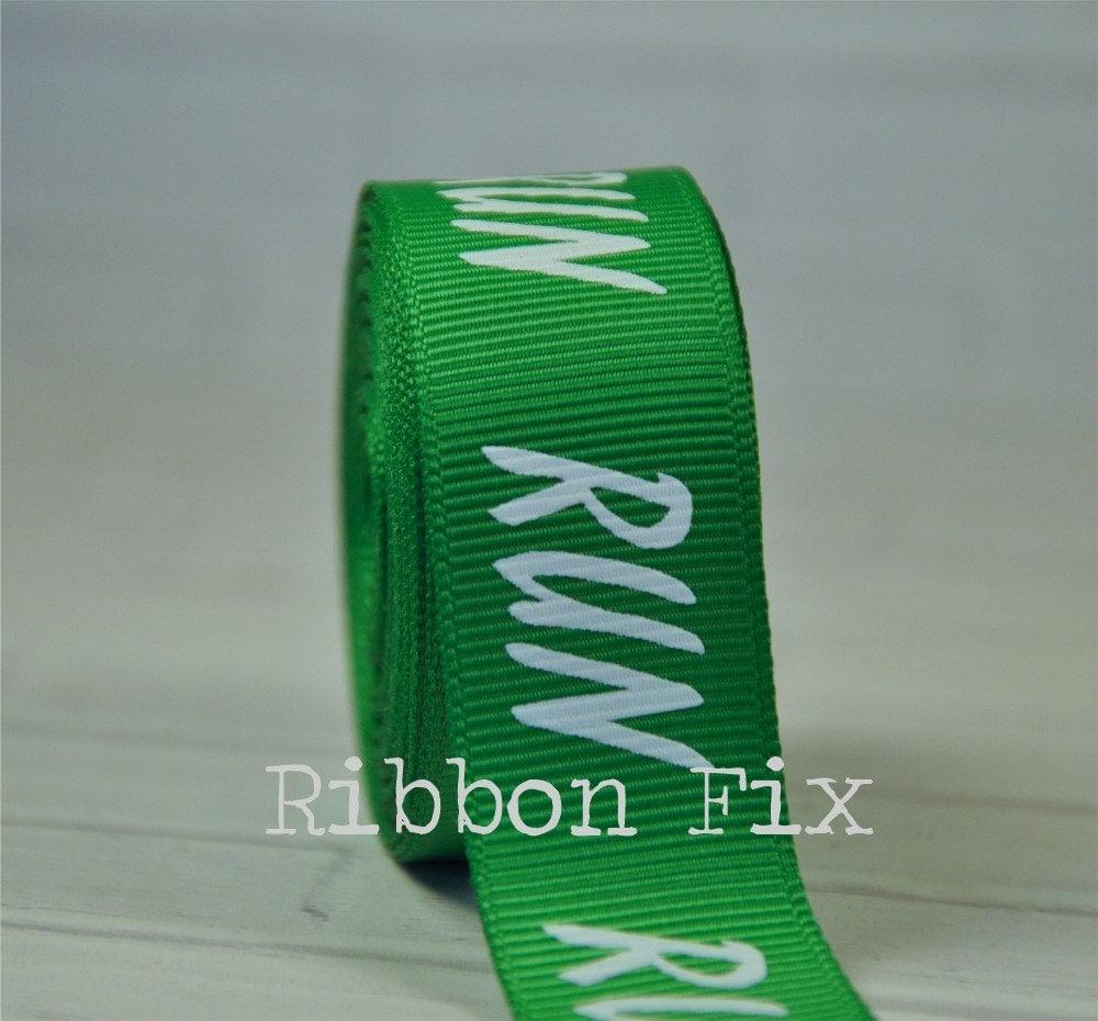 "2 Yards 7/8"" Emerald Run Marathon Print Grosgrain Ribbon"