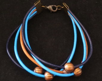 5 Strand Leather Bracelet in Blue with Antique Copper Pumpkin Beads