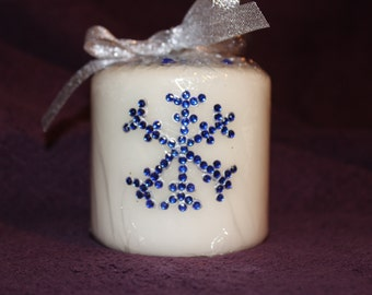 Christmas gift, stocking filler, snowflake decorated candle