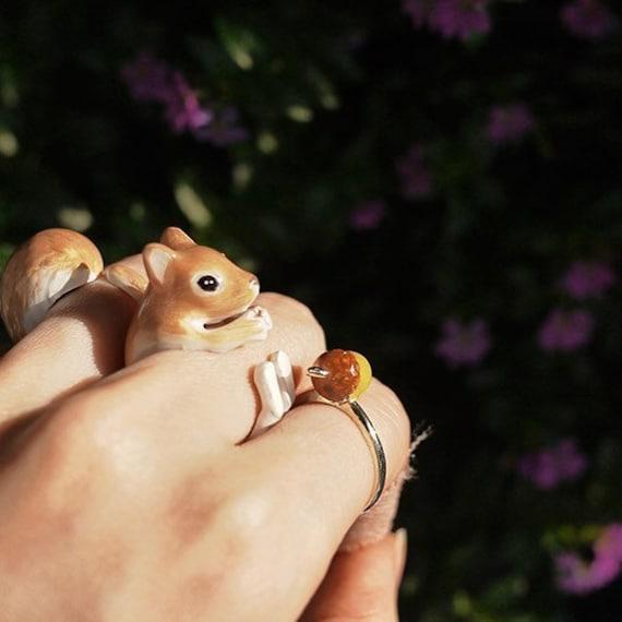 Orange Squirrel 3 Piece Ring Set - Enamel ring, Animals Ring, Animals Jewelry, Enamel Brass Jewelry, Trio Ring, Animal, Gift, Cute,Mary Lou