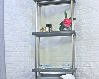 Bracken Reclaimed Scaffolding Board and Polished Steel Pipe Freestanding Bathroom Shelving/Storage Etagere Unit - bespoke urban furniture
