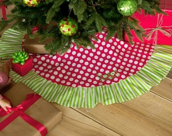 Red Dot and Green Stripe Christmas Tree Skirt - Christmas Stocking - Monogrammed - Personalized